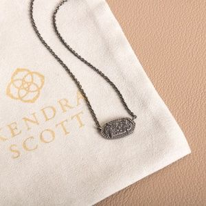 Kendra Scott Elisa Pendant Necklace In Black Drusy